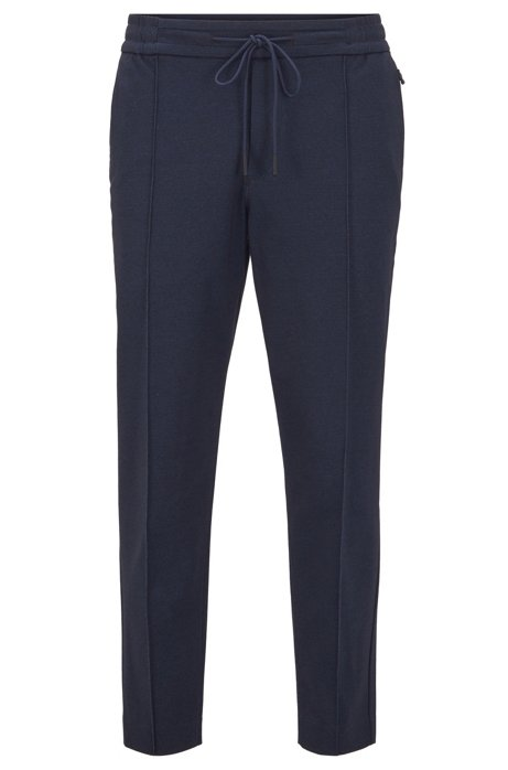 Tapered-fit trousers in printed jersey with cropped length, Dark Blue