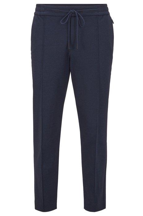 Pantalon Tapered Fit court en jersey imprimé, Bleu foncé