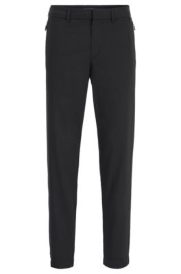 Tapered-fit trousers in a virgin-wool blend, Black