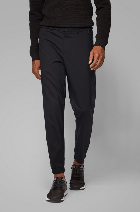 Tapered-Fit Hose aus elastischem Schurwoll-Mix, Schwarz