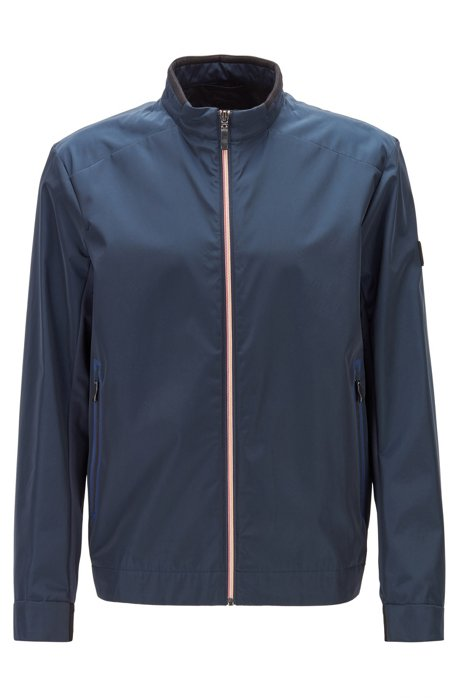 Regular-fit canvas jacket with feature zip, Dark Blue