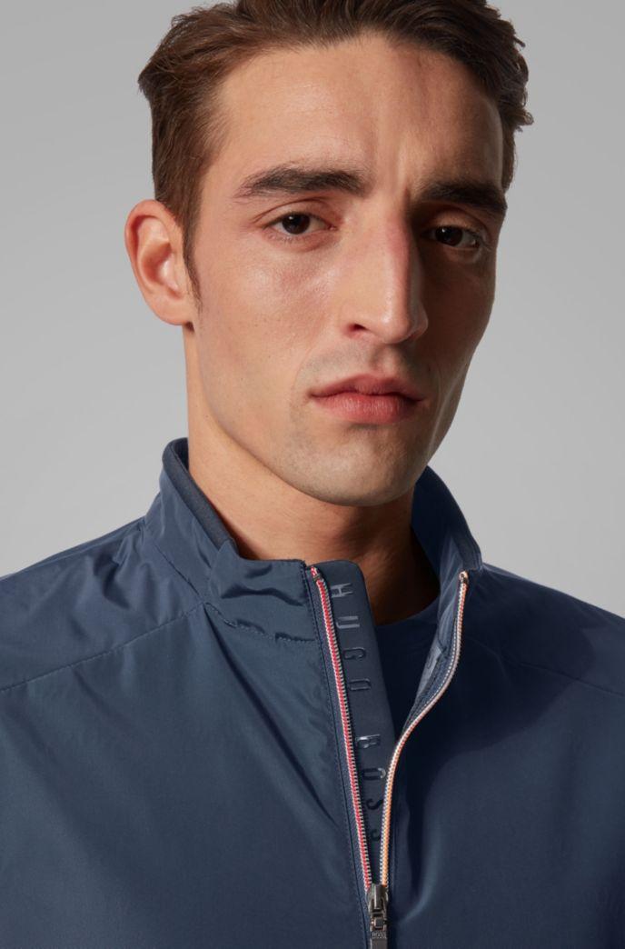 Regular-fit canvas jas met opvallende ritssluiting