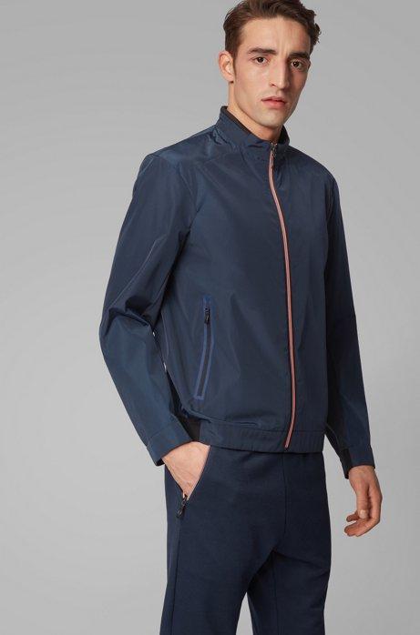 Veste Regular Fit zippée en toile, Bleu foncé