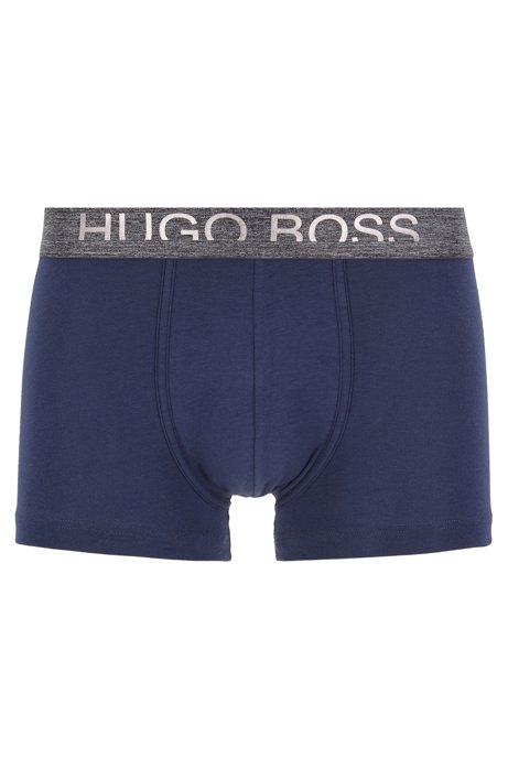 Straight-cut jersey trunks with cropped-logo waistband, Dark Blue