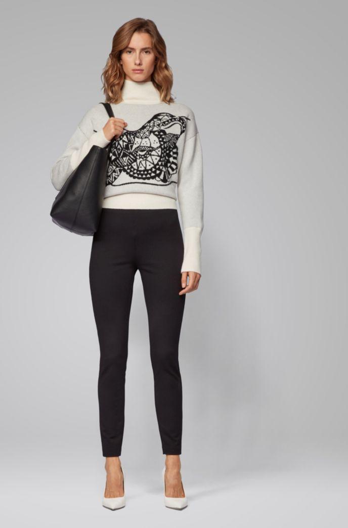 Extra Slim-Fit Hose aus Stretch-Jersey mit Hahnentritt-Muster