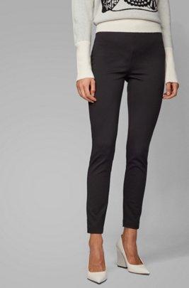Extra slim-fit broek van stretchjersey in pied-de-poule, Zwart