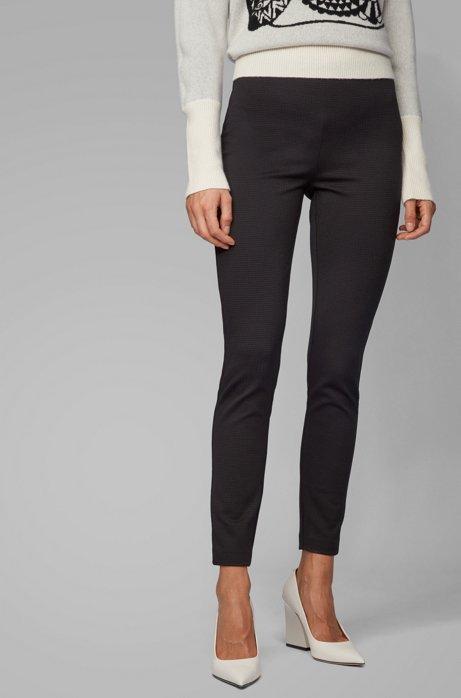 Pantalon Extra Slim Fit en jersey stretch à motif pied-de-poule, Noir