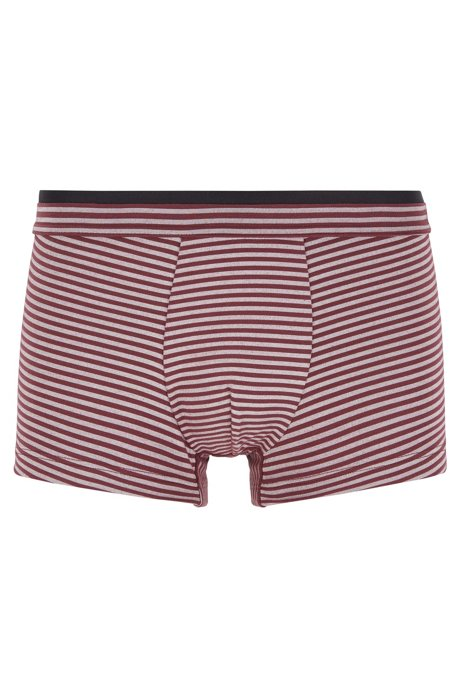 Striped trunks in stretch jersey with layered waistband, Dark Red