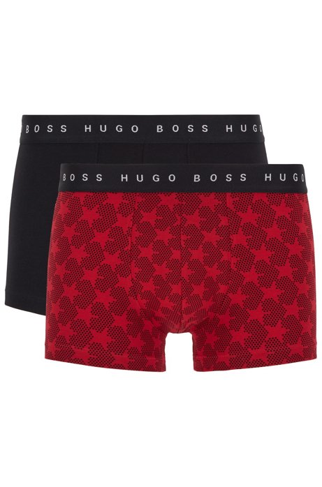 Gift-boxed two-pack of trunks in stretch-cotton jersey, Patterned