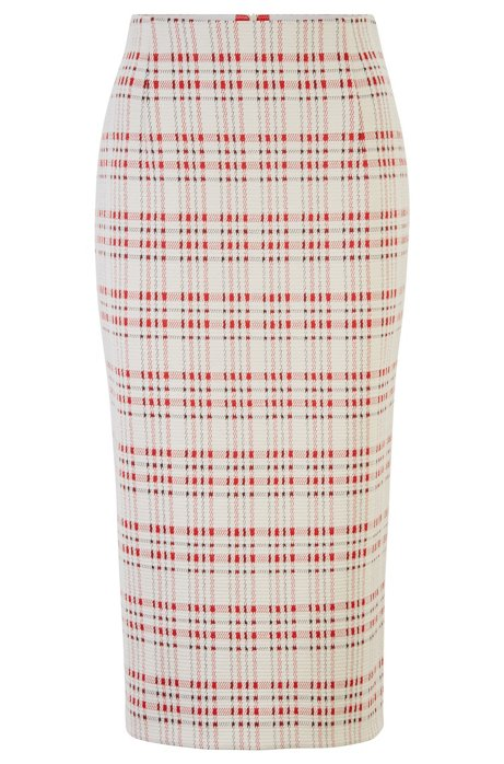 Slim-fit pencil skirt in checked stretch jersey, Patterned