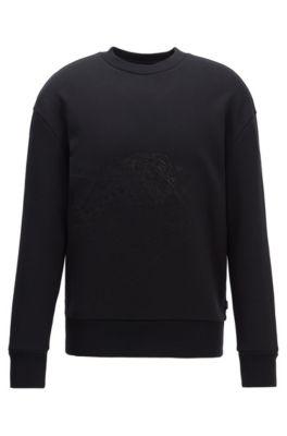 Sweatshirt aus French Terry mit tonaler Stickerei, Schwarz