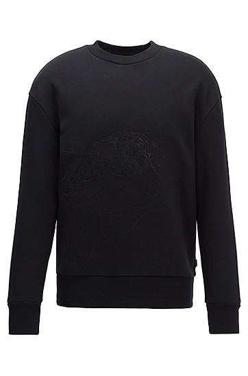 刺绣棉质毛圈布卫衣,  001_黑色