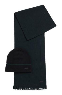 Set met muts en sjaal van wol met kasjmiertouch, Zwart