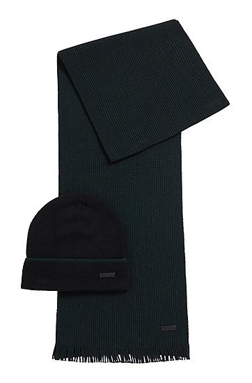 羊绒触感羊毛帽子围巾套装,  001_黑色