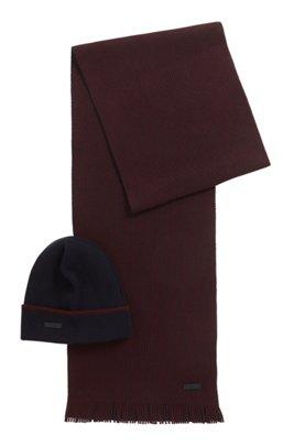 Ensemble bonnet et écharpe en laine rehaussée de cachemire, Rouge sombre