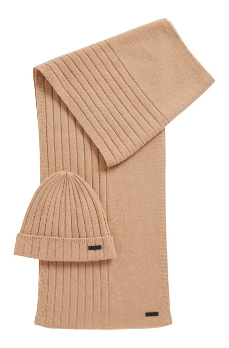 Hat and scarf set in pure cashmere, Beige