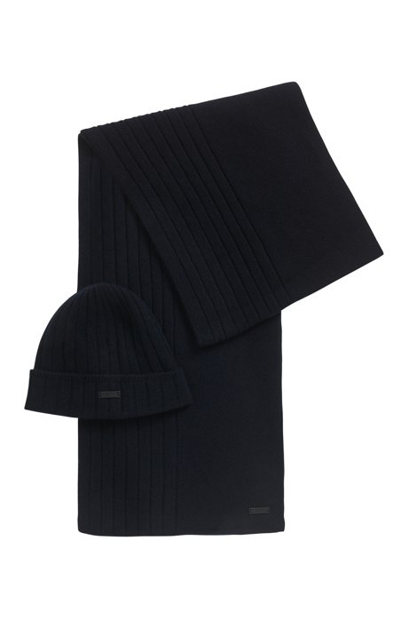 Hat and scarf set in pure cashmere, Dark Blue