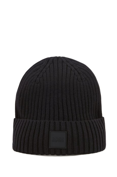 Beanie hat in wool and cotton with logo badge, Black