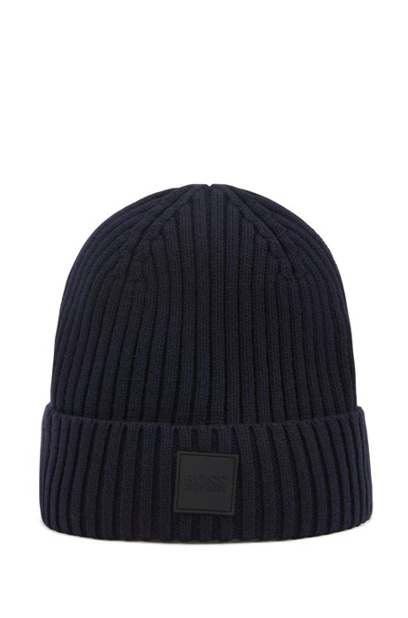 Beanie hat in wool and cotton with logo badge, Dark Blue