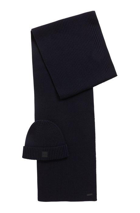 Ensemble écharpe et bonnet en mélange de laine et de coton, Bleu foncé