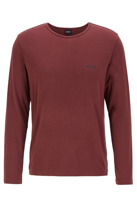Long-sleeved underwear T-shirt in heat-retaining stretch fabric, Dark Red