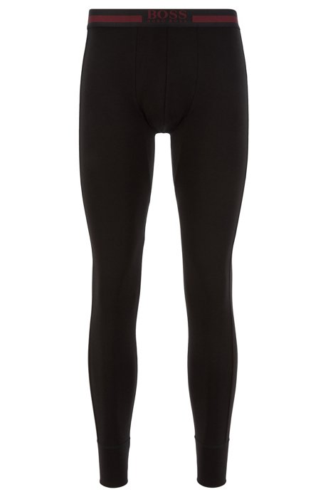 Regular-rise long johns in heat-retaining stretch fabric, Black