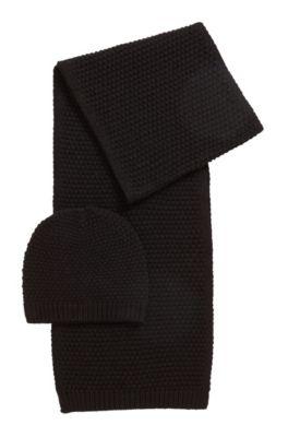 Ensemble bonnet et écharpe en laine mélangée avec fils métallisés, Noir
