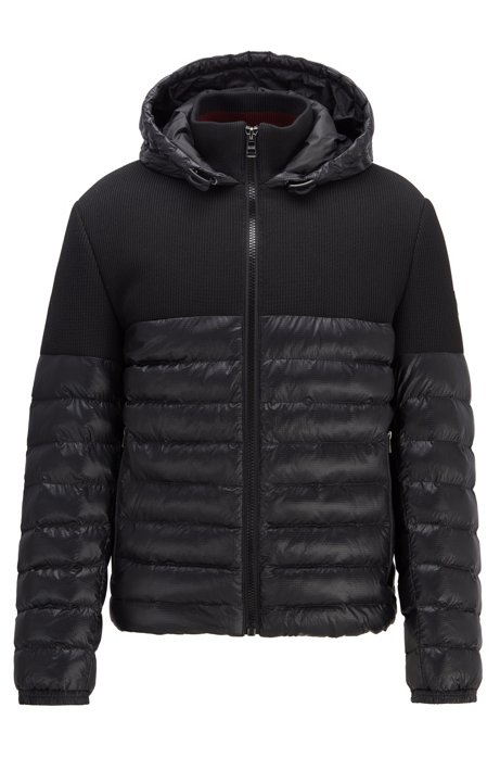 Regular-fit water-repellent jacket in mixed fabrics, Black
