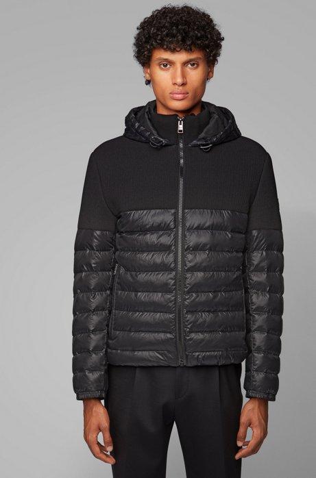 Regular-fit jas van gemengde waterafstotende materialen, Zwart