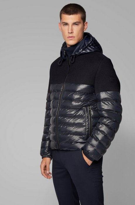 Regular-fit water-repellent jacket in mixed fabrics, Dark Blue
