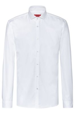 Extra-slim-fit shirt in two-ply cotton, White
