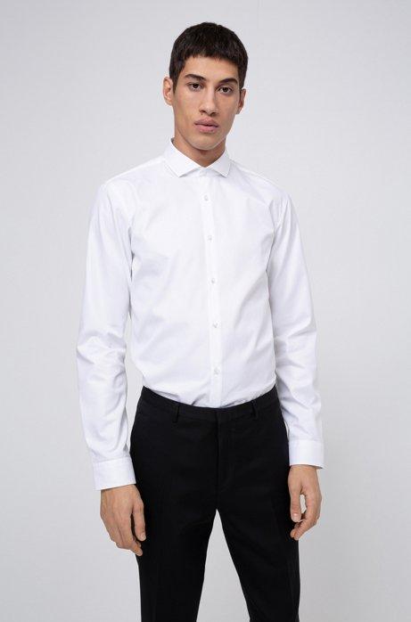 Chemise Extra Slim Fit en coton double retors, Blanc