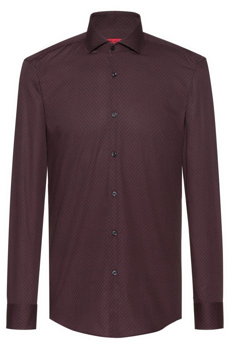 Slim-fit shirt with all-over star print, Dark Red