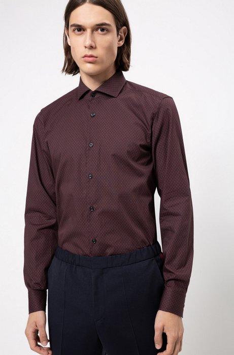 Slim-fit overhemd met all-over-sterrenprint, Donkerrood