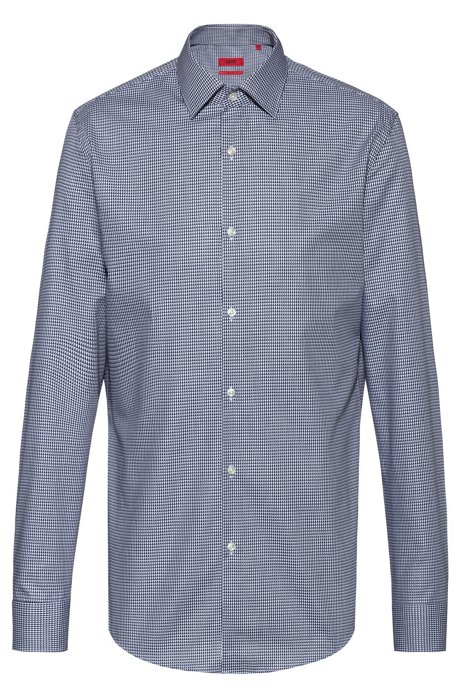 Slim-fit shirt with all-over structure, Patterned