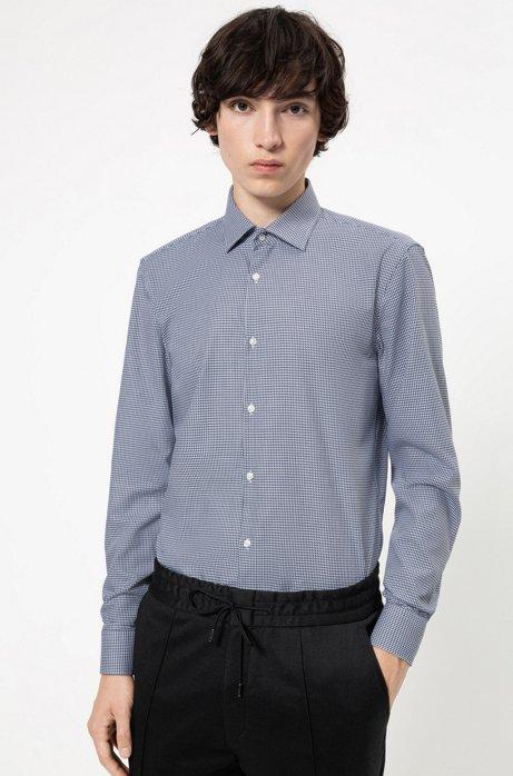 Slim-Fit Hemd aus strukturierter Baumwolle, Gemustert
