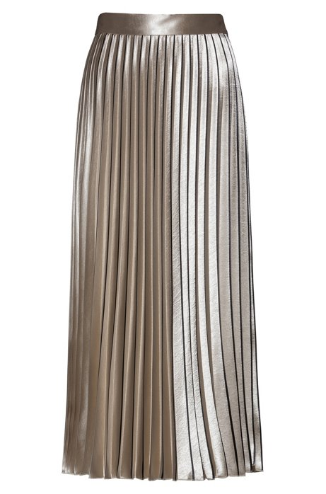 Plissé midi skirt in high-shine fabric, Gold