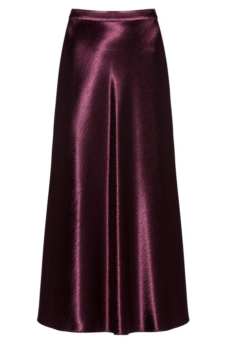 Regular-fit skirt in high-shine fabric, Dark Purple
