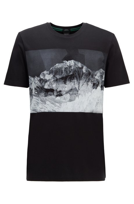 Slim-fit T-shirt with mountain-view print, Black