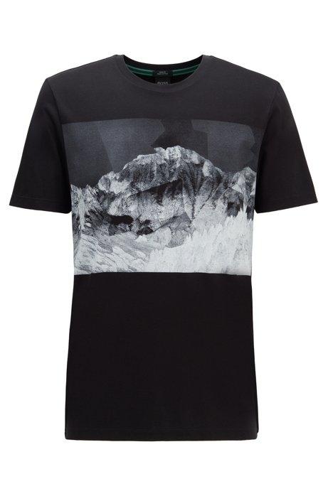 Camisa slim fit con estampado de paisaje de montaña, Negro