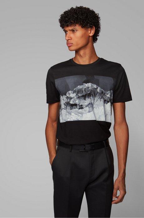 T-shirt Slim Fit à imprimé montagne, Noir