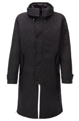 Waterafstotende jas met capuchon en uitneembare voering, Zwart