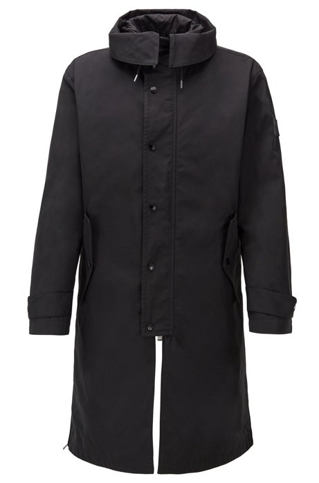 Water-repellent hooded coat with detachable lining, Black