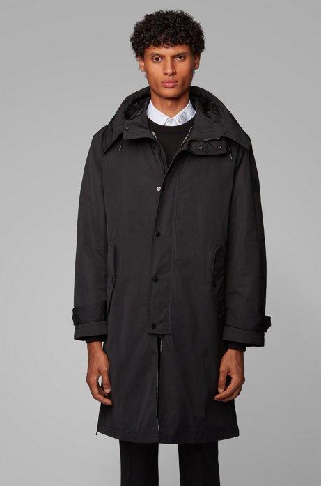 Manteau déperlant à capuche, avec doublure amovible, Noir