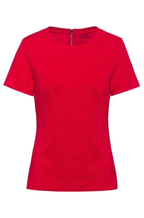 Slim-Fit Top aus Stretch-Jersey mit 3D-Struktur, Rot