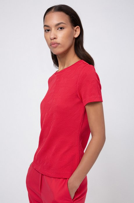 Top Slim Fit en jersey stretch à la structure en relief, Rouge