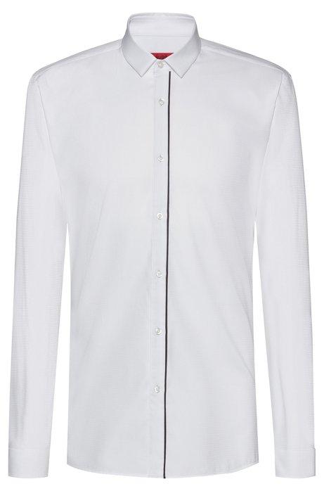 Extra Slim-Fit Hemd aus Baumwolle mit Streifen an der Knopfleiste, Weiß