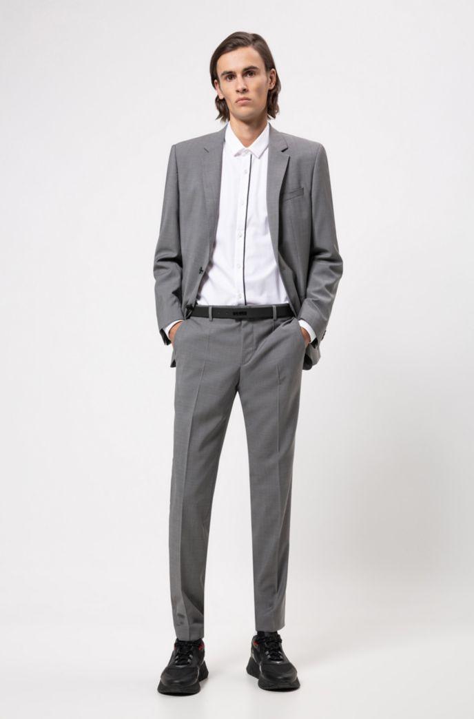 Chemise Extra Slim Fit en coton avec patte de boutonnage rayée