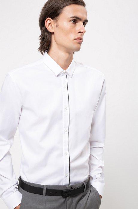 Chemise Extra Slim Fit en coton avec patte de boutonnage rayée, Blanc