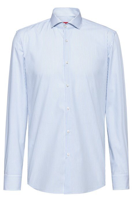 Slim-fit shirt in striped easy-iron cotton, Patterned
